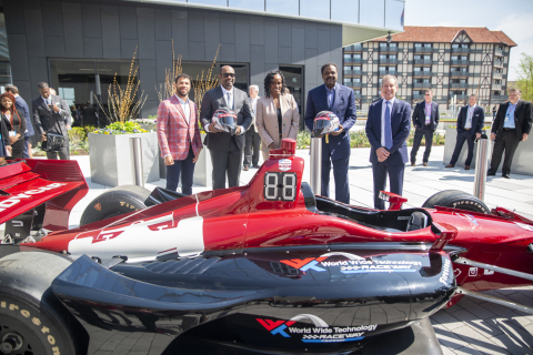 "Convening at World Wide Technology (WWT) Global Headquarters in St. Louis, Mo., for the announcement of a long-term naming rights commitment, renaming the Gateway Motorsports Park facility ""World Wide Technology Raceway at Gateway,"" are (left to right): Darrell ""Bubba"" Wallace Jr., NASCAR Driver; David Steward II, CEO of Lion Forge; Jackie Joyner-Kersee, Track and Field Olympian; David Steward, Founder and Chairman of WWT; and Curtis Francois, CEO of World Wide Technology Raceway at Gateway. (Photo: Business Wire)"