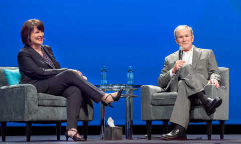 Tyler's Chief Marketing Officer Samantha Crosby led a conversation with former President George W. Bush at Tyler's Connect user conference in Dallas. (Photo: Business Wire)