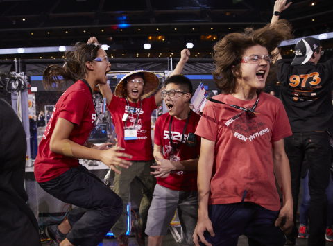 Students from the FIRST Robotics Competition Winning Alliance celebrate at Minute Maid Park during FIRST Championship in Houston. (Photo: Business Wire)