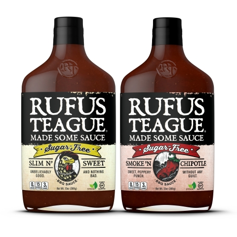 "Legendary Kansas City BBQ flavor can now be enjoyed by those with sugar-related dietary restrictions. Rufus Teague's new sugar-free barbecue sauces ""Slim N' Sweet"" and ""Smoke 'N Chipotle"" allow everyone to partake in America's favorite summertime food. (Photo: Business Wire)"