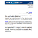 Republic Bancorp, Inc. Reports a 7% Year-Over-Year Increase in First Quarter Net Income
