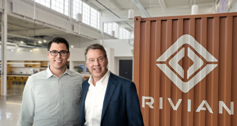 RJ Scaringe, Rivian founder and CEO, and Ford Executive Chairman Bill Ford announce a $500 million F ...