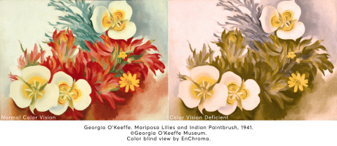 Courtesy of the Georgia O'Keeffe Museum. Color blind view by EnChroma.