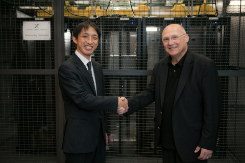 Shinya Murai, QKD Project Manager of Toshiba Corp (left), and John Prisco, President and CEO of Quantum Xchange (right) meet in New York City to announce the enhanced capacity of the Phio network. (Photo: Business Wire)