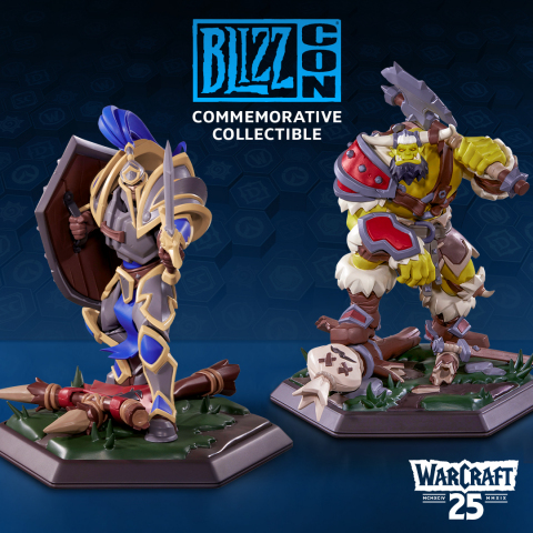 Replacing the goody bag of previous years, every ticket purchase comes with a choice of premium BlizzCon Commemorative Collectible statue—either a human footman or orc grunt, celebrating the 25th anniversary of Warcraft. (Graphic: Business Wire)