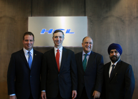 HCL Launches its CyberSecurity Fusion Center. L-R: Arthur Filip, EVP and Head of Sales Transformation and Marketing, HCL Technologies; U.S. Representative Van Taylor District 3 (R-Plano); Maher Maso, Former Mayor of Frisco, Texas; and Maninder Singh, CVP, CyberSecurity Services at HCL Technologies (Photo: Business Wire)
