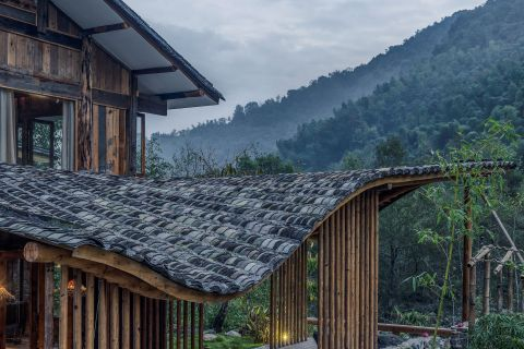 Wood structures of Springing Stream. Photo courtesy of WEI architects.