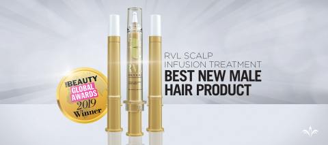 Jeunesse Global's RVL Scalp Infusion Treatment was chosen as the 2019 Pure Beauty Global Awards Best New Male Hair Product.  (Photo: Business Wire)