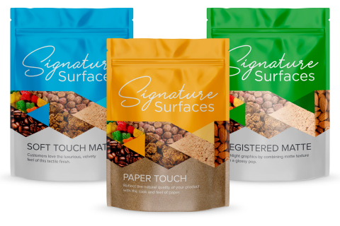 ProAmpac Signature Surfaces pouches: Soft Touch, Paper Touch, Registered Matte (Photo: Business Wire ...