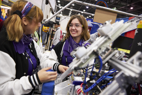 FIRST Robotics Competition students work on their robot at FIRST Championship in Detroit. (Photo: Business Wire)