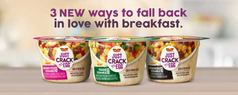 Just Crack an Egg's new varieties: Southwest Style, Veggie and Protein Packed (Graphic: Business Wire)