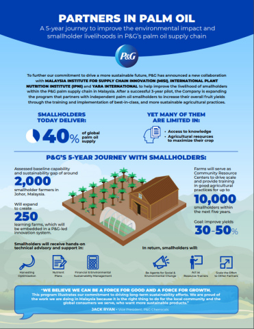 To further our commitment to drive a more sustainable future, P&G has announced a new collaboration with MALAYSIA INSTITUTE FOR SUPPLY CHAIN INNOVATION (MISI), INTERNATIONAL PLANT NUTRITION INSTITUTE (IPNI) and YARA INTERNATIONAL to help improve the livelihood of smallholders within the P&G palm supply chain in Malaysia. (Graphic: Business Wire)
