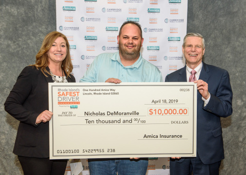"""Nicholas DeMoranville was named """"Overall Safest Driver"""" as part of the 10-week long Rhode Island's Safest Driver contest, hosted by Amica Insurance in partnership with Cambridge Mobile Telematics (CMT). (Photo: Business Wire)"""