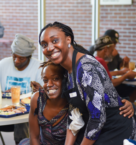 HanesBrands' employees share more than food with guests in Samaritan Ministries' soup kitchen. Company volunteers also organized several days of service to distribute socks, underwear and other apparel to more than 500 people. (Photo: Business Wire)