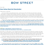 Bow Street Letter To Mack-Cali Shareholders