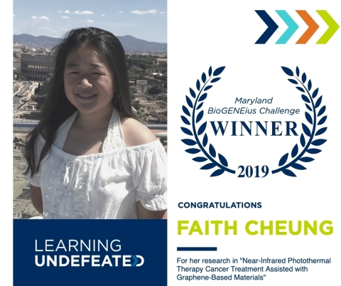 Faith Cheung, 10th grader from Richard Montgomery High School and finalist of the 2019 Maryland BioGENEius Challenge, will represent the state in the International BioGENEius Challenge this June at the 2019 BIO International Convention in Philadelphia, Pa. (Graphic: Business Wire)