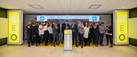 The WE Charity, including co-founder Marc Kielburger, joined Jos Schmitt, President and CEO of NEO, to open the market in celebration of the closing of a $1,000,000 Donation to build a School of Business Management, as part of the WE College in Kenya. (Photo: Business Wire)