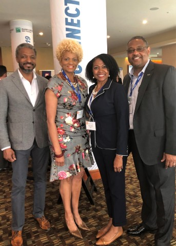 Eleven PrimeLending loan originators were honored by NAMMBA as Top Originators. PrimeLending was also recognized as a Best Workplace for Minorities and Women. (Pictured L-R: Gene Frazier (NMLS: 195298), Latonia Donaldson, Veronica Blake, and Steve Blake (NMLS: 450899).