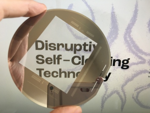 Prototype of PiezoWipe(TM) self-cleaning glass (Photo: Business Wire)