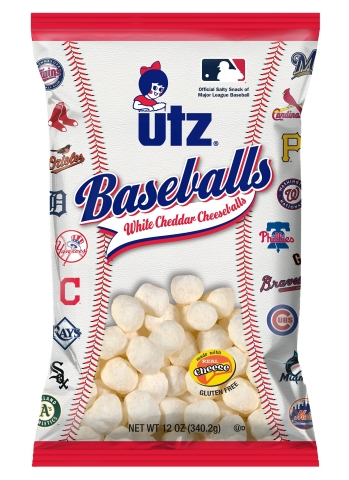 "Utz® Limited Edition 12 oz White Cheddar Cheeseball ""Baseballs"" with 30 Major League Baseball Clubs logos. Source: Utz Quality Foods, LLC."