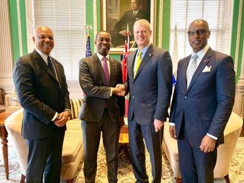 Massachusetts Governor Charlie Baker met with Bermuda Premier David Burt and delegation in Boston this week. (Photo: Business Wire)