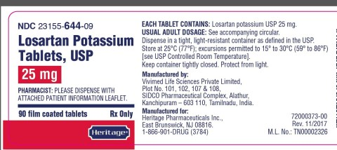 Vivimed Life Sciences Pvt Ltd Issues Voluntary Nationwide Recall of       Losartan Potassium 25 mg, 50 mg and 100 mg Tablets, USP Due to the       Detection of Trace Amounts of N-Nitroso-N-methyl-4-aminobutyric acid       (NMBA) Impurity