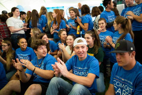 Over 200 Paradise High School seniors returned to campus today for the first time since the Camp Fire broke and were surprised with laptops as part of the 18th annual Comcast Cares Day. (Photo: Business Wire)
