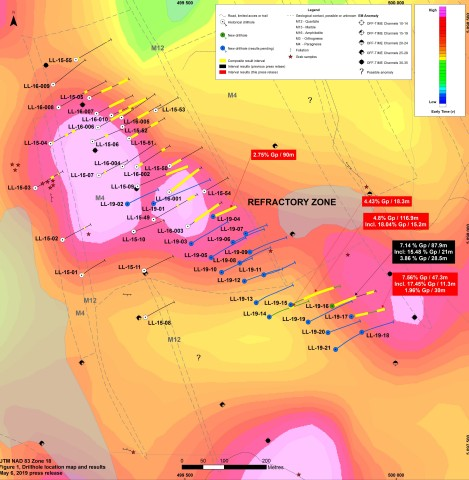 Drilling Map with Highlighted Results from May 2019 (Photo: Business Wire)