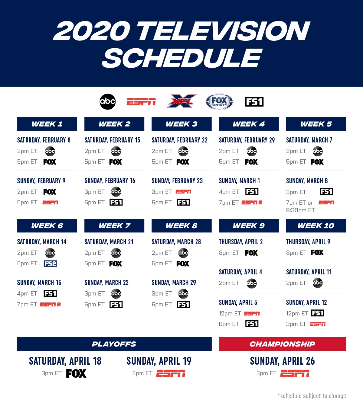 Xfl To Air On Abc Espn Fox Sports And Fs1 Business Wire