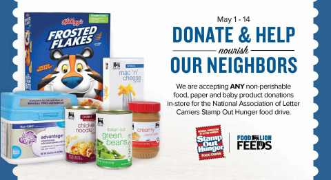 Signage from the in-store food drive at all Food Lion locations in support of Stamp Out Hunger (Grap ...