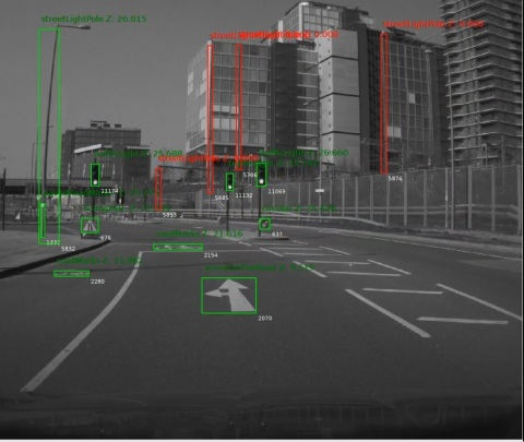 Arrows, traffic signs and poles are detected by a vehicle retrofitted with Mobileye 8 Connect as it captures a street-level view of Britain's road network. In London on Tuesday, May 7, 2019, Ordnance Survey, Great Britain's national mapping agency, and Mobileye, an Intel company, announced the launch of trials to create the first detailed roadside infrastructure dataset of Britain for an accurate and customizable location information service. (Credit: Mobileye, an Intel company)
