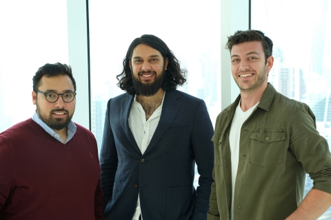 Wahed team (from left to right): Yasser Aboudkhil, CTO - Junaid Wahedna, Founder and CEO - Kareem Tabbaa, CPO (Photo: Business Wire)