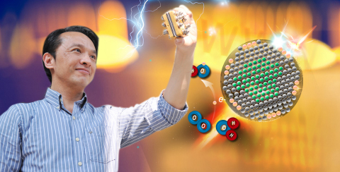 Prof. Chen Tsan-Yao recently developed a way of using ultrasonic waves to make tiny grooves on a metal surface, which in conjunction with an atomic-scale platinum catalyst can be used to double the efficiency of alkaline fuel cells. (Photo: National Tsing Hua University)
