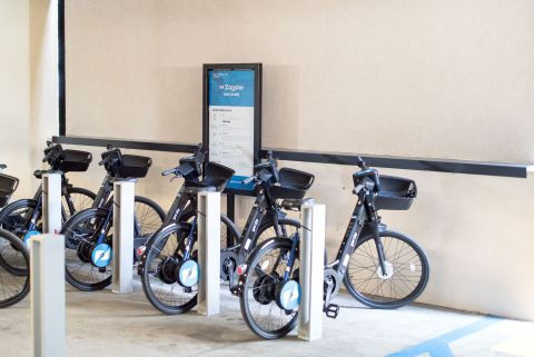 GenZe e-bikes, operated by Zagster, at DivcoWest commercial property in Glendale, CA. (Photo: Business Wire)