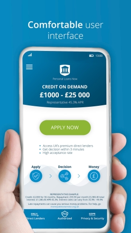 The new Credit on Demand app allows customers to borrow between £1,000 and £25,000 using their mobile phone (Photo: Business Wire)