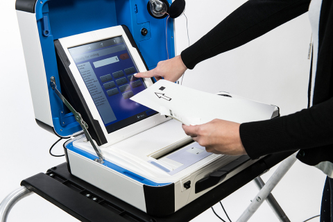 Verity Duo combines touchscreen ballot marking with a voter-verifiable printed vote summary. Unlike other systems, Verity reads the voter's choices directly from the summary text, not from a bar code. (Photo: Business Wire)