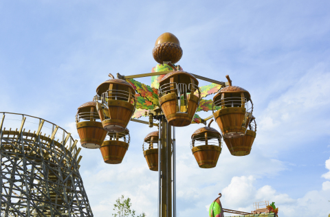 The Treetop Tower gives guests a sky-high view of Wildwood Grove as they soar in the air, seated inside giant acorns. One of the newest attractions in Wildwood Grove, Treetop Tower is the first ride guests see when they visit the largest expansion in Dollywood's history. (Photo: Business Wire)