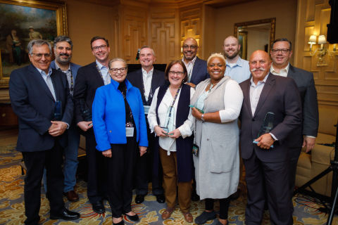 2019 Shared Assessments Summit award winners. Back row left to right: Bob Maley, Nasser Fattah, Jona ...
