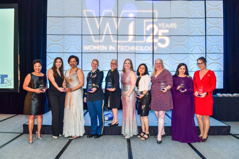 Winners of the 20th Annual Women in Technology Leadership Awards with Margo Dunn, WIT President (Photo: Business Wire)