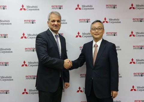 Aadil ISHFAQ, CEO and Founder of PitStopArabia.com, with Shimpei AMISAKI, General Manager of Tire Dept., Mitsubishi Corporation at the signing ceremony in Dubai, UAE (Photo: AETOSWire)