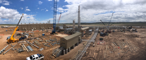 Construction of Steamboat I, Meritage Midstream's natural gas cryogenic processing plant in Wyoming's Powder River Basin (Converse County). (Photo: Business Wire)