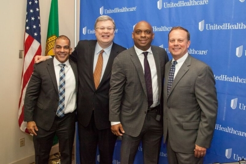 Left to right: Keith Payet, CEO, UnitedHealthcare Community Plan of Tennessee; Memphis Mayor Jim Strickland; Landis Rush, vice president, UnitedHealth Group; and Steve Wilson, CEO, UnitedHealthcare of Tennessee, announced $1 million in grants today at the Greater Memphis Chamber to seven Memphis-area nonprofit organizations to expand their services that address key social determinants of health (Photo: Troy Glasgow).