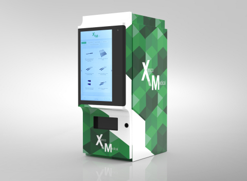 Surgical implant maker Xenco Medical has announced the launch of the first interactive vending machines designed for spine surgery instruments and implants. Xenco Medical has launched the interactive vending machines to house, track, and dispense the company's breakthrough, entirely disposable spine surgery implant and instrument systems, which are engineered from a highly durable composite polymer. WiFi-enabled, the vending machines use an advanced elevator-based system to retrieve each sterile-packaged Xenco Medical product before dispensing it to be used in surgery. (Photo: Business Wire)