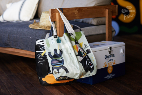 Limited-edition, reusable bags designed at La Casa to support the ban against single-use plastic. (Photo: Business Wire)
