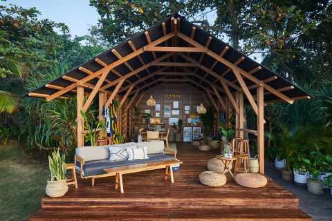 Corona's La Casa pop-up space, made from 1.5 tons of recycled plastic. (Photo: Business Wire)