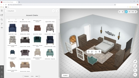 Jerome's 3D room planner provides robust design tools with a fun and easy user experience, giving customers the power to create both simple and complex product assemblies with no skill or experience required. (Photo: Business Wire)