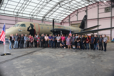 """Veterans and active-duty military from Silver Airways and the community attended the unveiling of """"Bravo Zulu"""" at Silver Airways' maintenance hangar in Orlando (Photo: Business Wire)"""