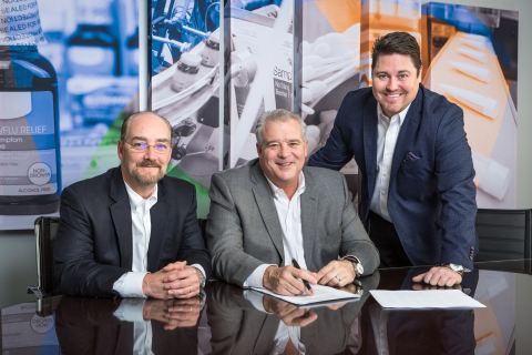 From left, Aphena Pharma Solutions COO Bob Scott, CEO Shawn Reilley and Executive VP of Sales and Marketing Eric Allen meet to make plans for a $7 million approved expansion to Aphena's manufacturing space and equipment. (Photo: Business Wire)