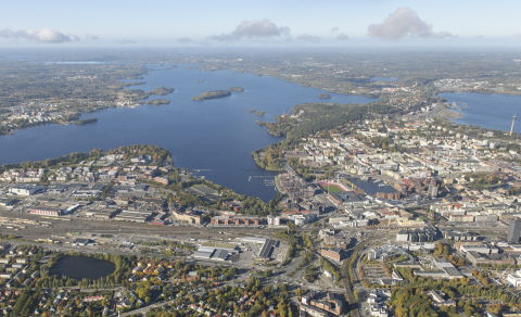 An international ideas competition started off on 15 May 2019 in Viinikanlahti, a highly exciting area close to Tampere city centre. Photo by: Lentokuva Vallas.
