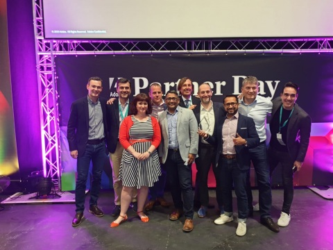 Accenture Interactive team accepts Adobe 2019 Digital Experience Solution Partner of the Year, EMEA award in London (Photo: Business Wire)